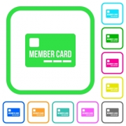 Member card vivid colored flat icons in curved borders on white background - Member card vivid colored flat icons