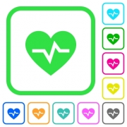 Heartbeat vivid colored flat icons in curved borders on white background - Heartbeat vivid colored flat icons