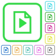 Playlist vivid colored flat icons in curved borders on white background - Playlist vivid colored flat icons