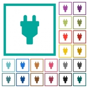 Power connector flat color icons with quadrant frames on white background
