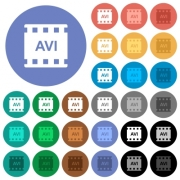 AVI movie format multi colored flat icons on round backgrounds. Included white, light and dark icon variations for hover and active status effects, and bonus shades on black backgounds.