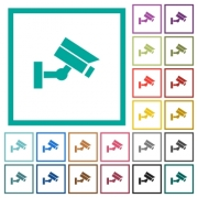 Security camera flat color icons with quadrant frames on white background - Security camera flat color icons with quadrant frames