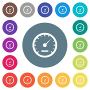 Speedometer flat white icons on round color backgrounds. 17 background color variations are included. - Speedometer flat white icons on round color backgrounds