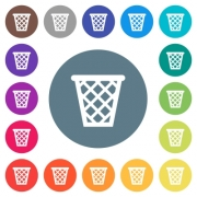 Trash flat white icons on round color backgrounds. 17 background color variations are included. - Trash flat white icons on round color backgrounds