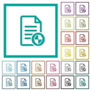 Document protect flat color icons with quadrant frames on white background - Document protect flat color icons with quadrant frames
