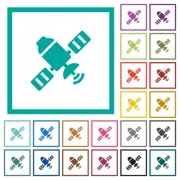 Satellite flat color icons with quadrant frames on white background - Satellite flat color icons with quadrant frames