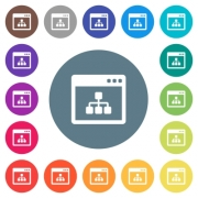 Networking application flat white icons on round color backgrounds. 17 background color variations are included. - Networking application flat white icons on round color backgrounds