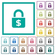 Locked Dollars flat color icons with quadrant frames on white background - Locked Dollars flat color icons with quadrant frames