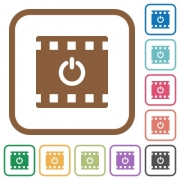 End movie simple icons in color rounded square frames on white background - End movie simple icons