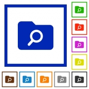 Folder search flat color icons in square frames on white background - Folder search flat framed icons