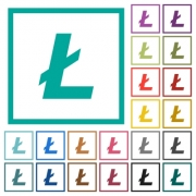 Litecoin digital cryptocurrency flat color icons with quadrant frames on white background - Litecoin digital cryptocurrency flat color icons with quadrant frames