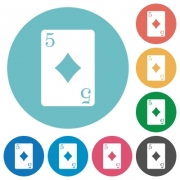 Five of diamonds card flat white icons on round color backgrounds - Five of diamonds card flat round icons