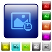 Save image icons in rounded square color glossy button set