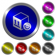 One day package delivery icons on round luminous coin-like color steel buttons - One day package delivery luminous coin-like round color buttons