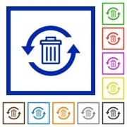 Undelete flat color icons in square frames on white background - Undelete flat framed icons