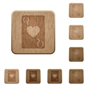 Queen of hearts card on rounded square carved wooden button styles - Queen of hearts card wooden buttons