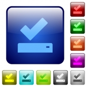 Successfully saved icons in rounded square color glossy button set - Successfully saved color square buttons