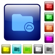 Cloud directory icons in rounded square color glossy button set - Cloud directory color square buttons