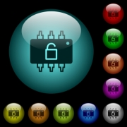 Hardware unlocked icons in color illuminated spherical glass buttons on black background. Can be used to black or dark templates - Hardware unlocked icons in color illuminated glass buttons