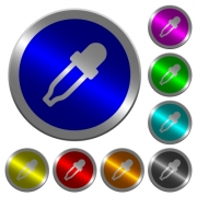 Color picker icons on round luminous coin-like color steel buttons - Color picker luminous coin-like round color buttons