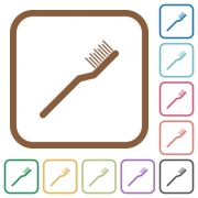 Toothbrush simple icons in color rounded square frames on white background - Toothbrush simple icons
