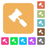 Judge hammer flat icons on rounded square vivid color backgrounds. - Judge hammer rounded square flat icons