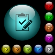 Fill out checklist icons in color illuminated spherical glass buttons on black background. Can be used to black or dark templates - Fill out checklist icons in color illuminated glass buttons
