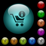 Cart item info icons in color illuminated spherical glass buttons on black background. Can be used to black or dark templates - Cart item info icons in color illuminated glass buttons