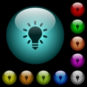 Lighting bulb icons in color illuminated spherical glass buttons on black background. Can be used to black or dark templates - Lighting bulb icons in color illuminated glass buttons