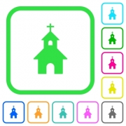 Curch vivid colored flat icons in curved borders on white background - Curch vivid colored flat icons