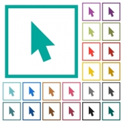 Mouse cursor flat color icons with quadrant frames on white background - Mouse cursor flat color icons with quadrant frames