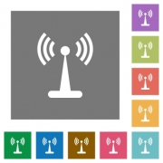 Wlan network flat icons on simple color square backgrounds - Wlan network square flat icons