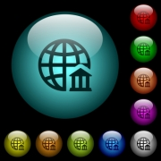 Internet banking icons in color illuminated spherical glass buttons on black background. Can be used to black or dark templates - Internet banking icons in color illuminated glass buttons