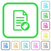 Tagging document vivid colored flat icons in curved borders on white background