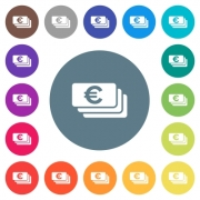 Euro banknotes flat white icons on round color backgrounds. 17 background color variations are included. - Euro banknotes flat white icons on round color backgrounds