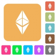 Ethereum classic digital cryptocurrency flat icons on rounded square vivid color backgrounds. - Ethereum classic digital cryptocurrency rounded square flat icons