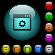 Application settings icons in color illuminated spherical glass buttons on black background. Can be used to black or dark templates - Application settings icons in color illuminated glass buttons