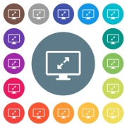 Adjust screen resolution flat white icons on round color backgrounds. 17 background color variations are included. - Adjust screen resolution flat white icons on round color backgrounds