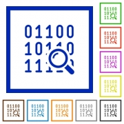 Code analysis flat color icons in square frames on white background - Code analysis flat framed icons