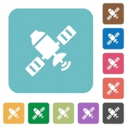 Satellite white flat icons on color rounded square backgrounds - Satellite rounded square flat icons