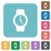 Watch white flat icons on color rounded square backgrounds - Watch rounded square flat icons