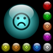 Sad emoticon icons in color illuminated spherical glass buttons on black background. Can be used to black or dark templates - Sad emoticon icons in color illuminated glass buttons