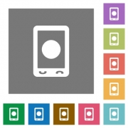 Mobile media record flat icons on simple color square backgrounds - Mobile media record square flat icons