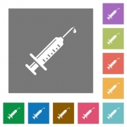 Syringe with drop flat icons on simple color square backgrounds - Syringe with drop square flat icons