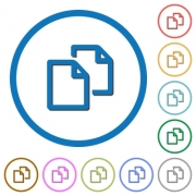 Copy document flat color vector icons with shadows in round outlines on white background - Copy document icons with shadows and outlines