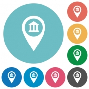 Bank office GPS map location flat white icons on round color backgrounds - Bank office GPS map location flat round icons