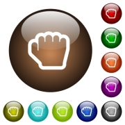 Grab cursor white icons on round color glass buttons - Grab cursor color glass buttons
