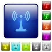 Wlan network icons in rounded square color glossy button set - Wlan network color square buttons