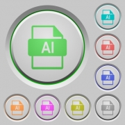 AI file format color icons on sunk push buttons - AI file format push buttons