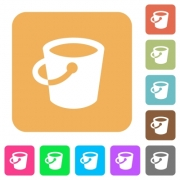 Bucket flat icons on rounded square vivid color backgrounds. - Bucket rounded square flat icons